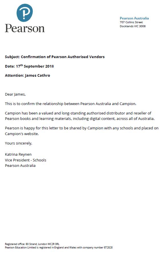 Pearson Authorised Vendor Statement - Campion Education